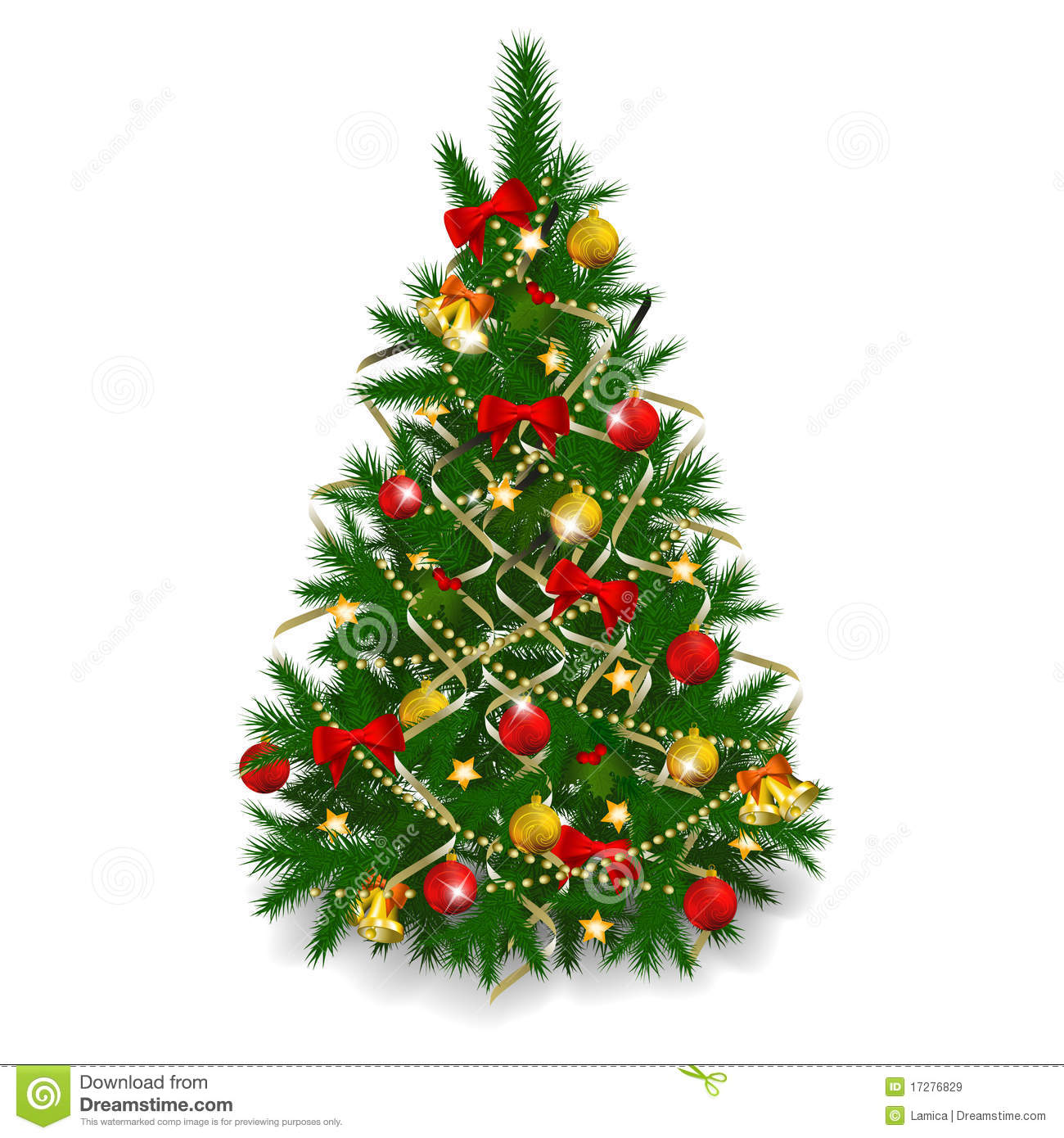 Christmas Tree On White Background Stock Vector