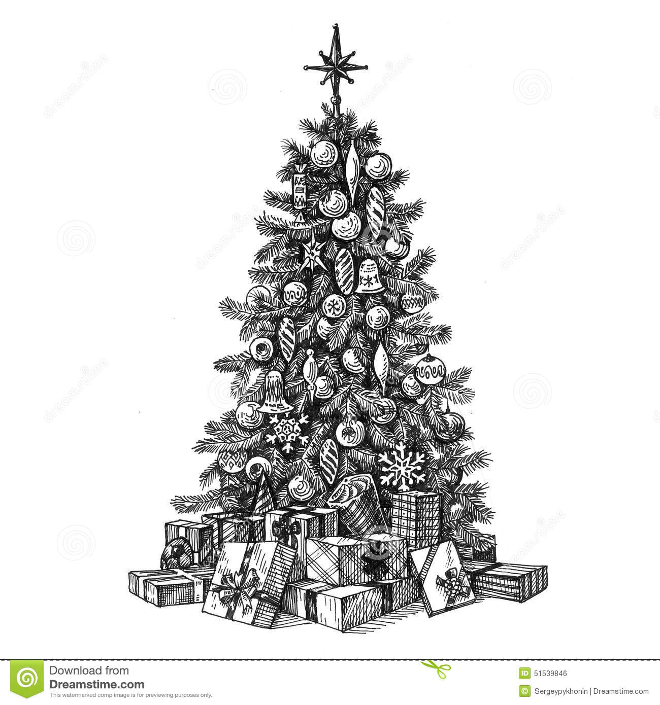 Christmas Tree On A White Background. Sketch Stock Illustration - Image 51539846