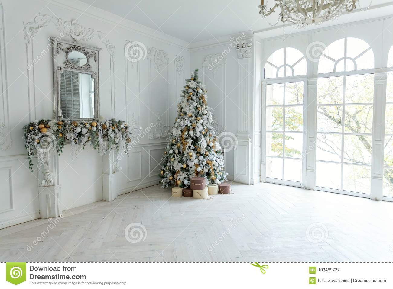 download christmas tree with white and gold decorations stock image image of gold beautiful