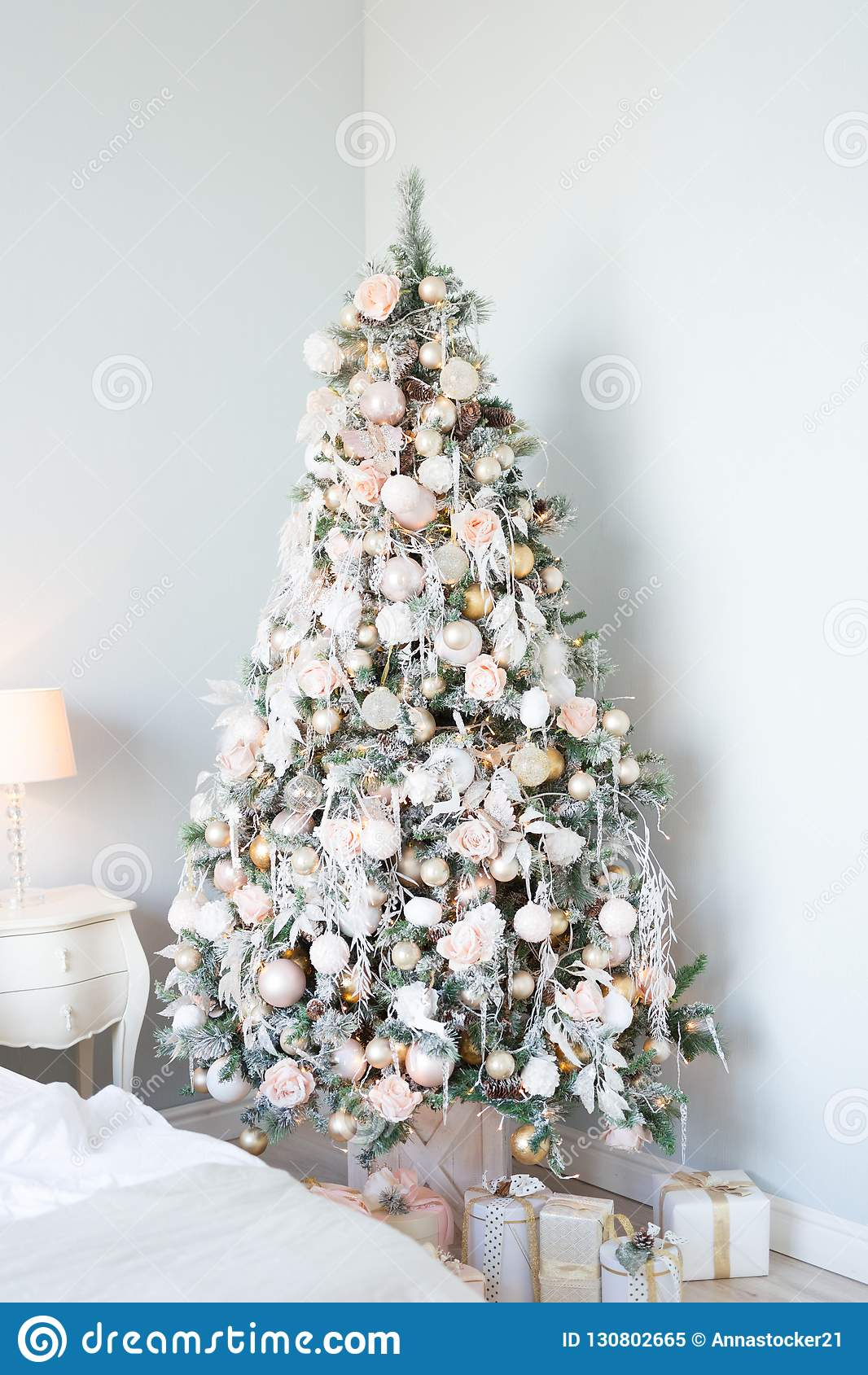Christmas Tree With White And Light Pink Blue Balls And Gift Boxes Over Wall New Year Christmas Concept Stock Image Image Of Pine Holiday 130802665