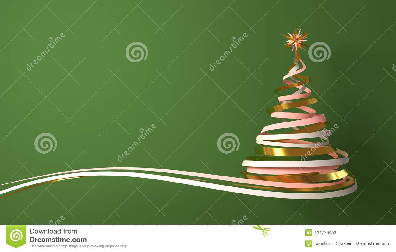 Christmas Tree From White, Pink And Gold Tapes Over Green Background.