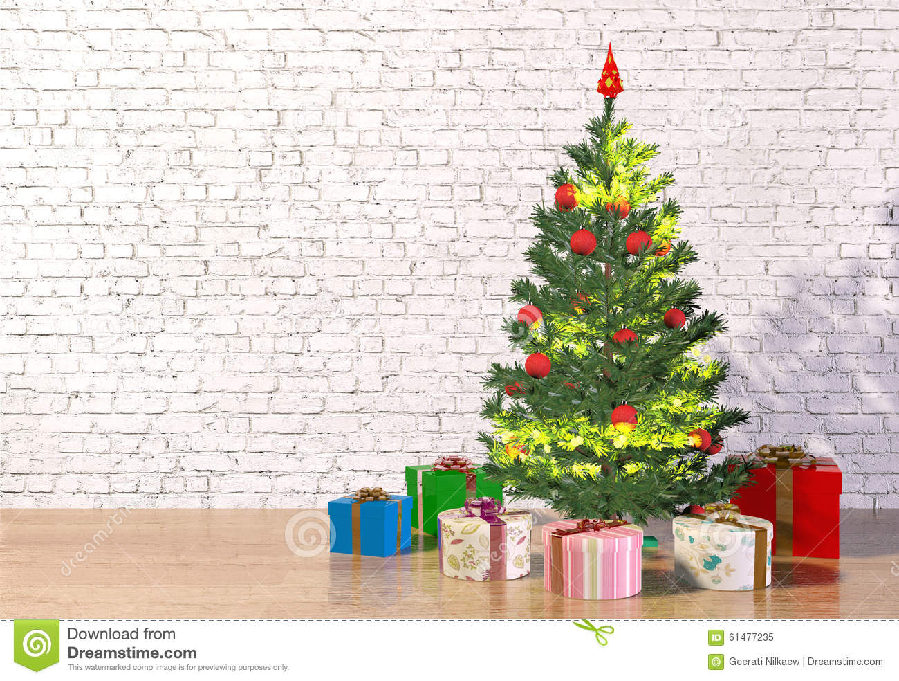 Christmas tree in white room