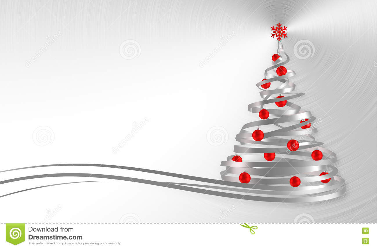Christmas Tree From White Tapes With Red Balls Over Metal Background
