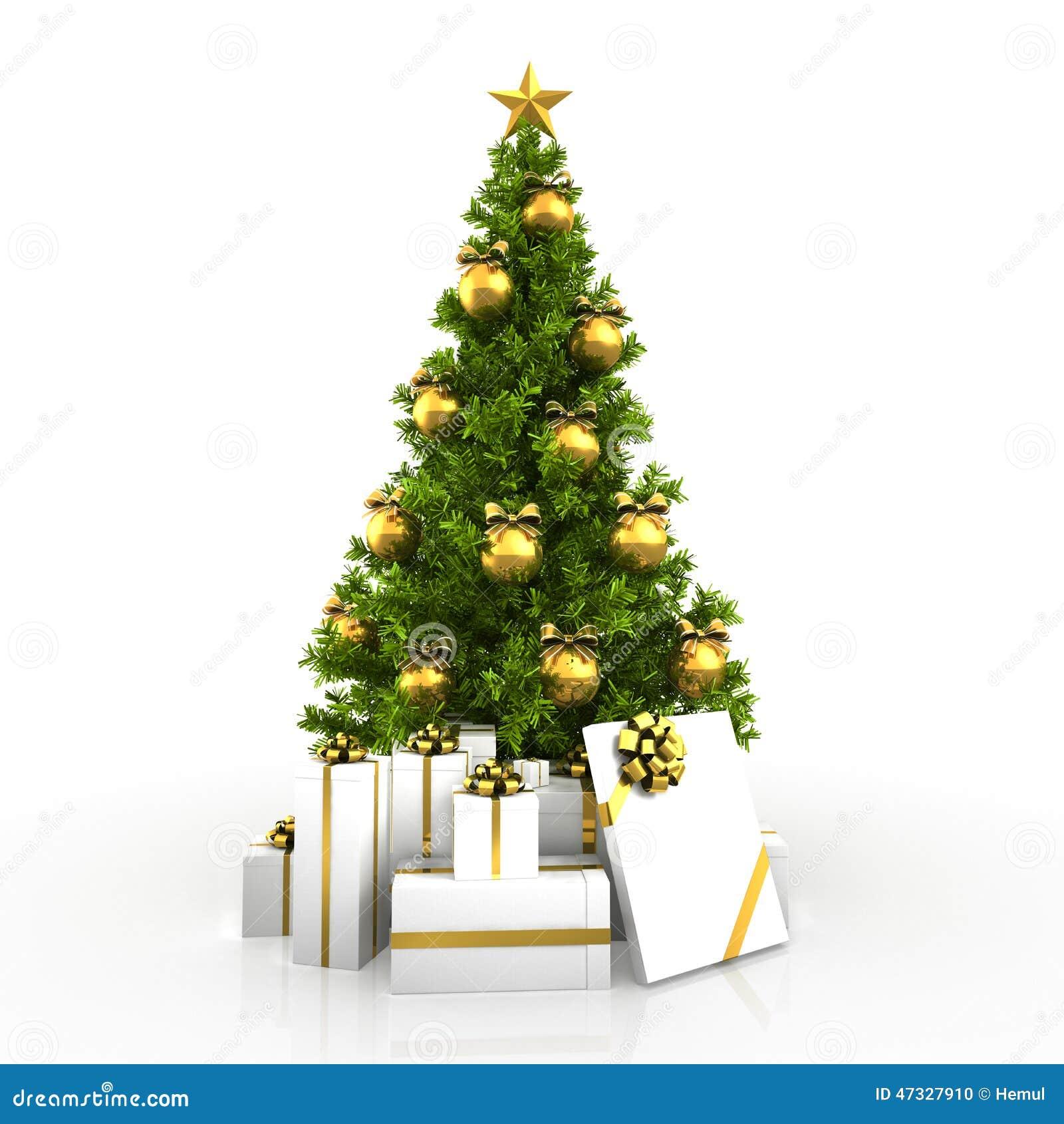 Christmas Tree White Background.Christmas Tree Winh Gold Decor Isolated On White Background