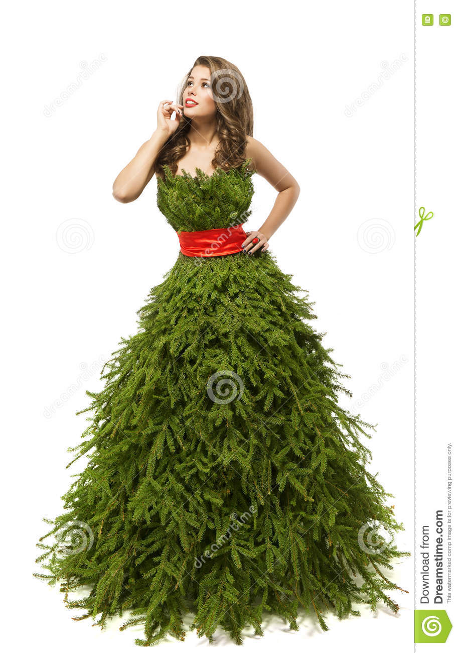 Christmas Tree Woman Dress Fashion Model In Creative Xmas