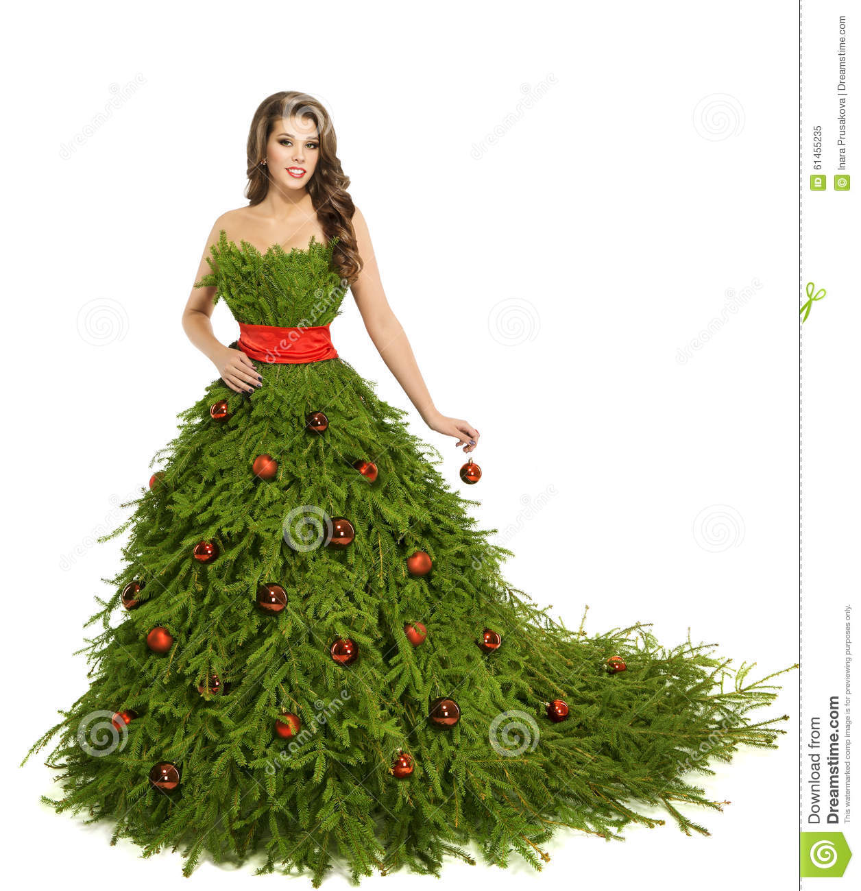 christmas tree woman dress fashion model on white xmas. Black Bedroom Furniture Sets. Home Design Ideas