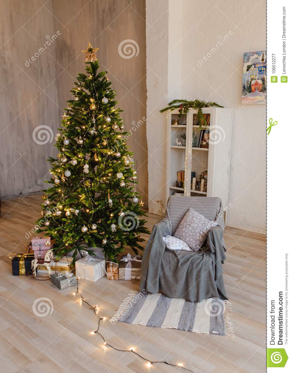 Christmas Tree With Wooden Rustic Decorations And Presents