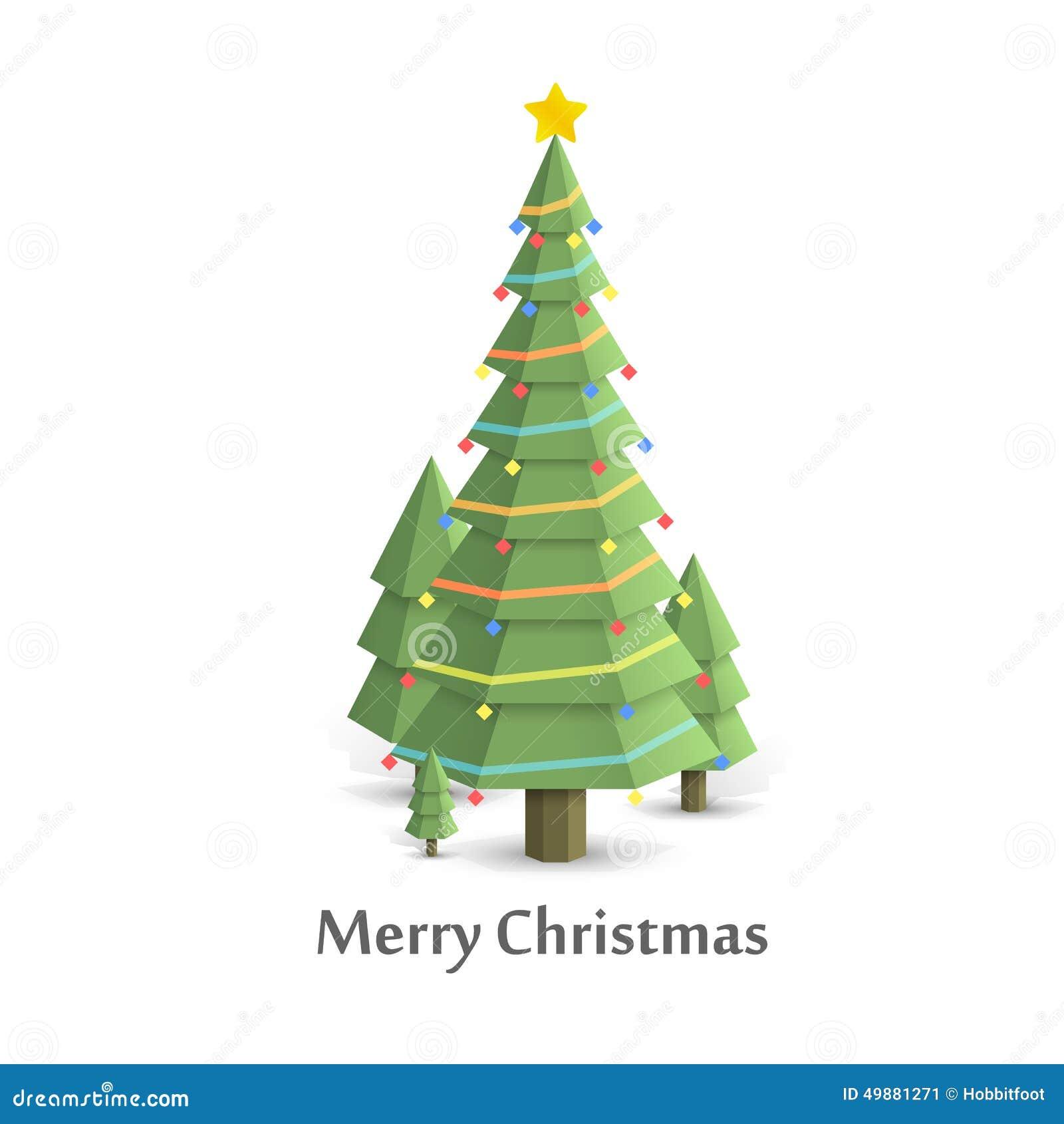 christmas flat illustration tree - Flat Christmas Tree
