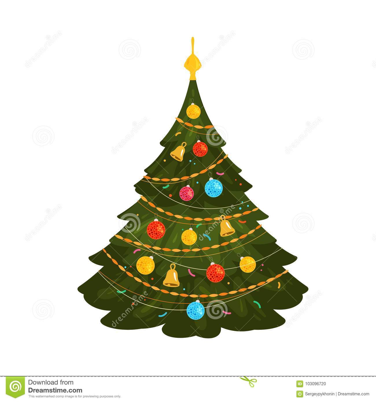 Official Date To Put Up Christmas Trees: Christmas Tree. Xmas Concept Or Symbol. Cartoon Vector
