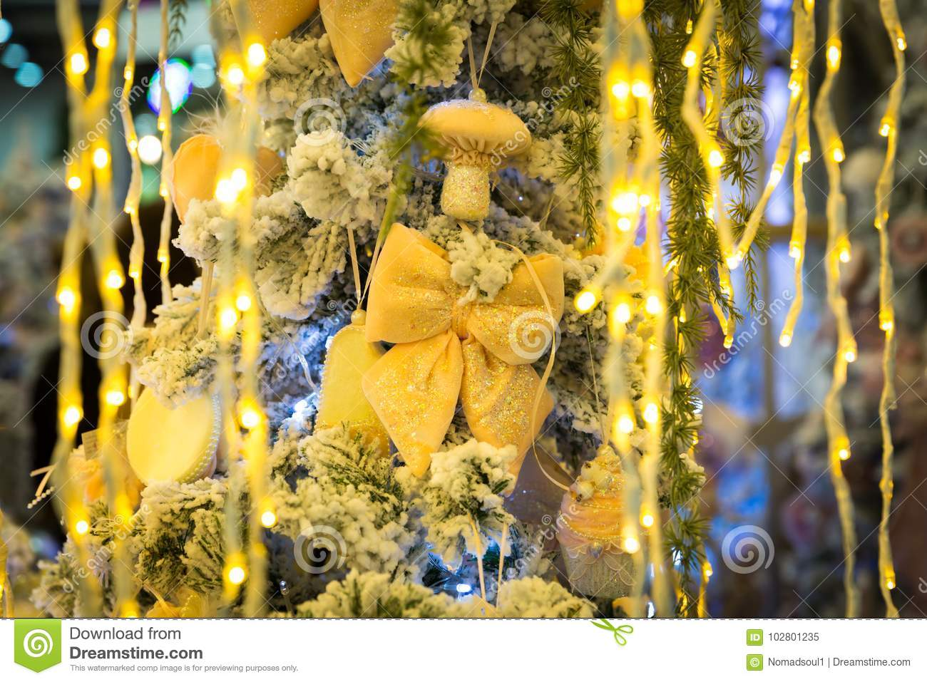 download christmas tree with yellow decor and lights stock image image of 2018 design
