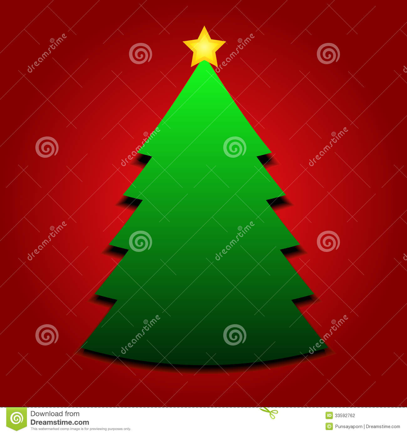 Christmas tree with yellow star stock vector image 33592762 for Red and yellow christmas tree