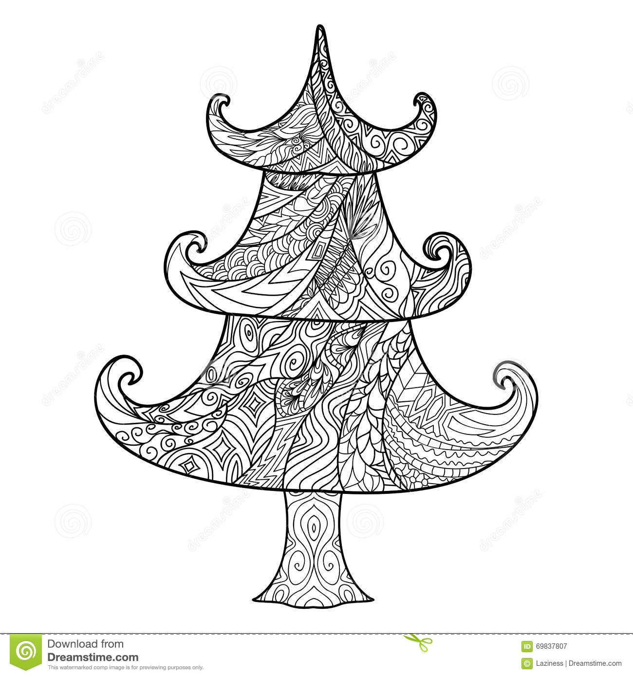 Christmas Tree, Zendoodle Design Element Stock Vector - Illustration ...
