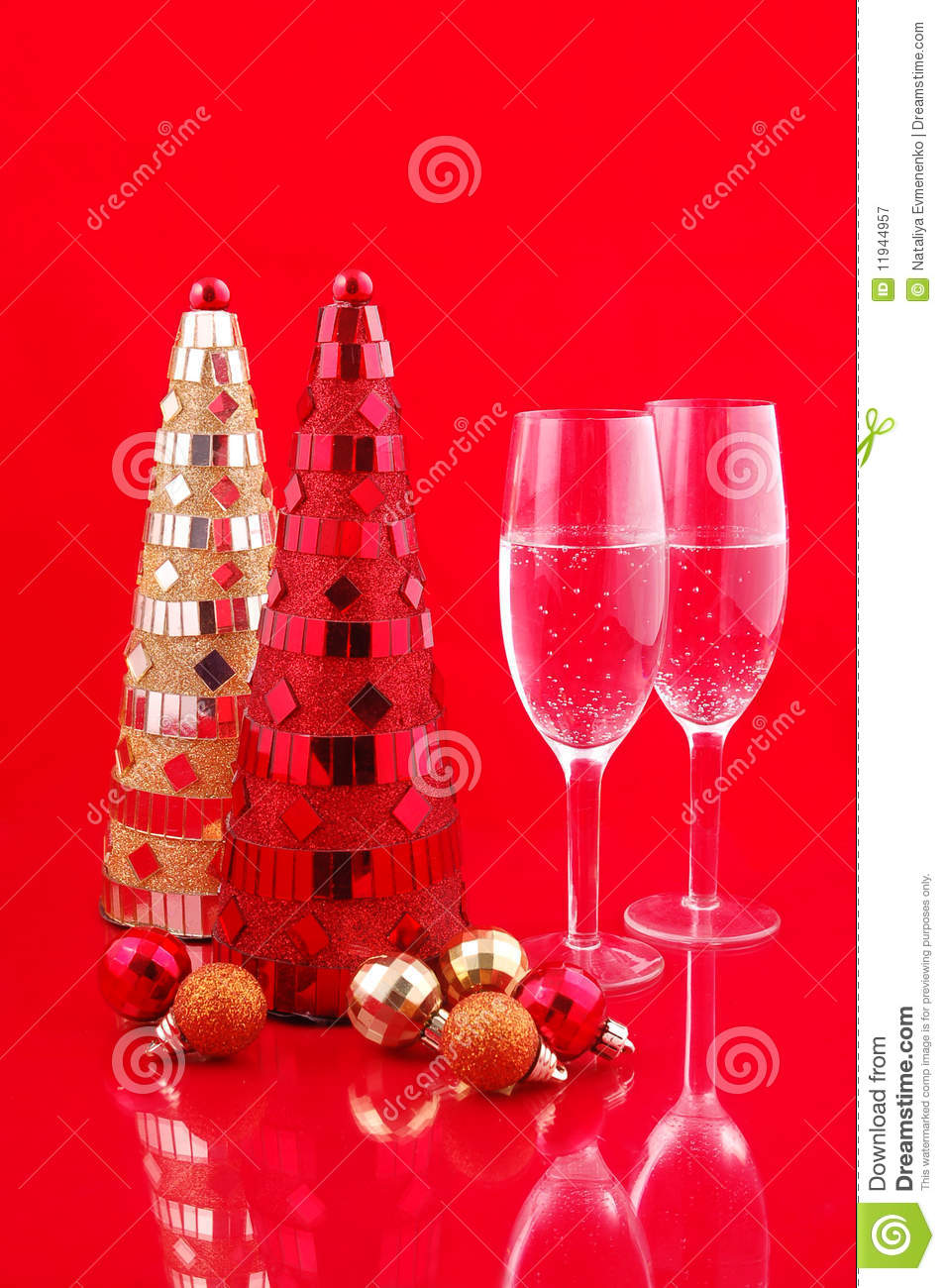 Christmas trees and champagne royalty free stock for Red and yellow christmas tree