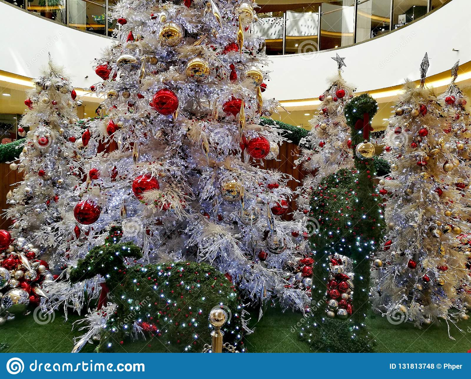 Australian Christmas Tree Decorations.Christmas Trees And Decorations Stock Photo Image Of
