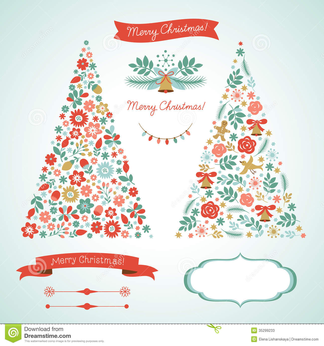 Christmas Tree Decoration Elements: Christmas Trees And Graphic Elements Stock Vector