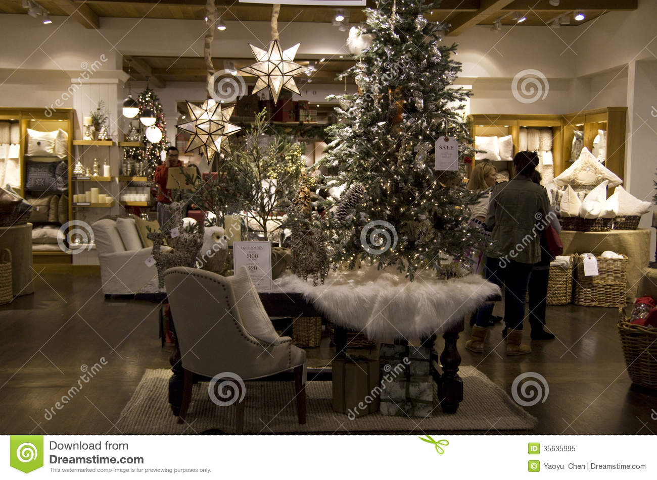 Christmas Trees Home Goods Decor Store Editorial Image - Image: 35635995