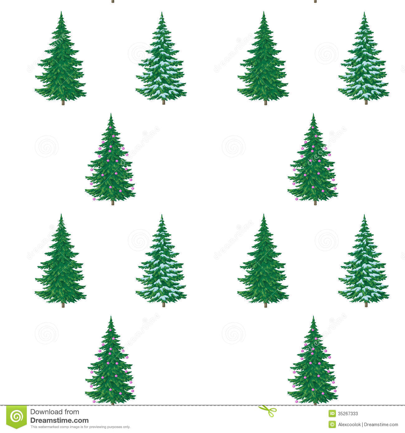 Christmas trees painting seamless stock photos image for Decoration drawing