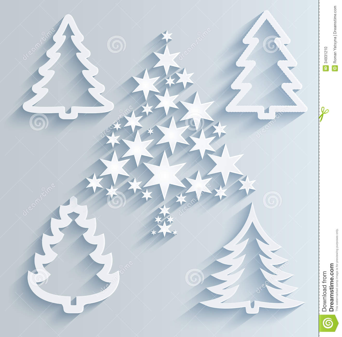 Christmas Trees. Paper Holiday Decorations Stock Photo - Image ...