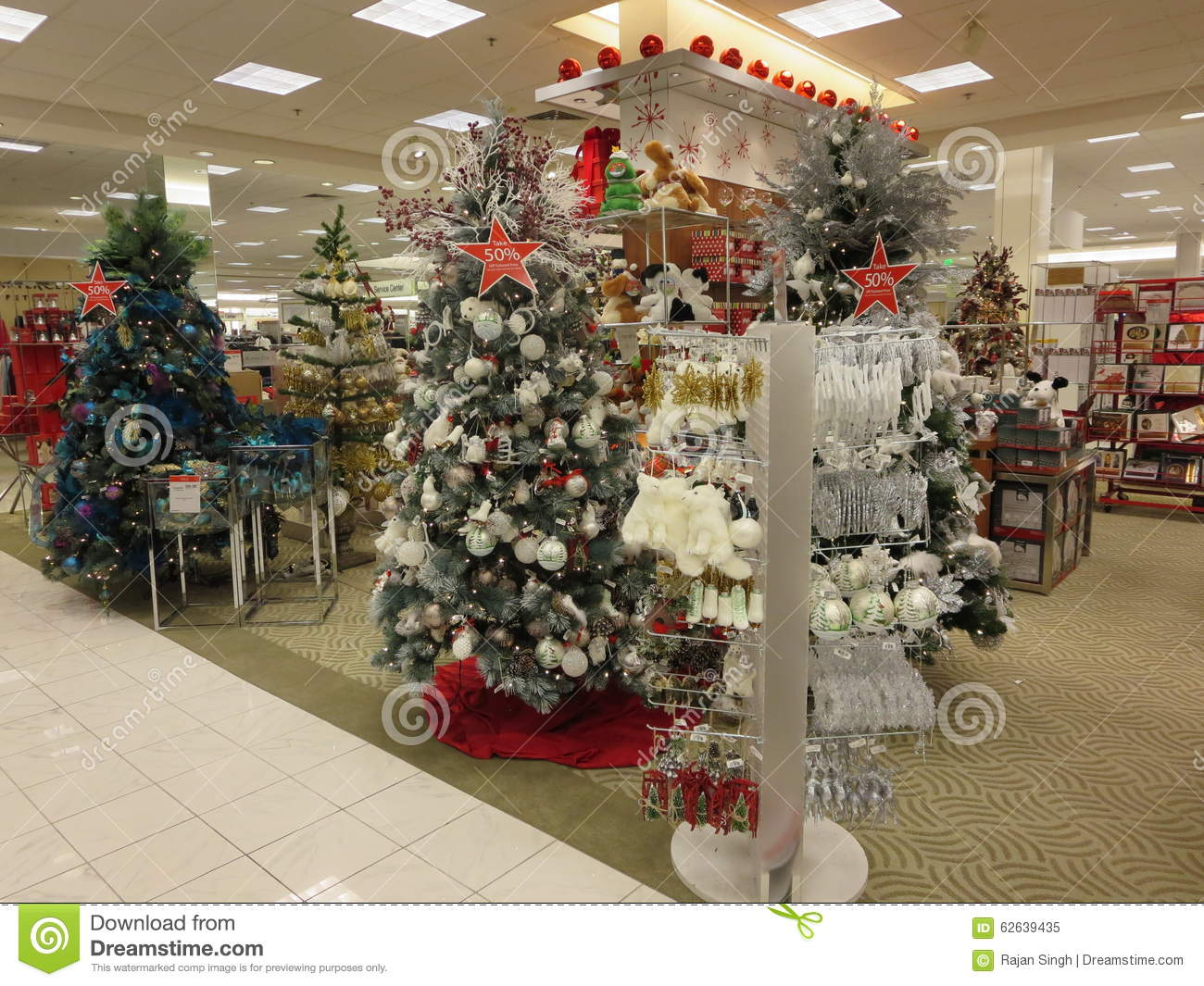 decorated christmas tree ornaments display for sale in a mall