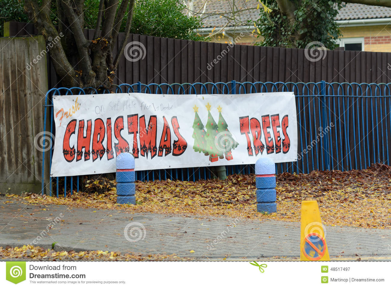 Christmas Trees For Sale Sign Stock Photo - Image: 48517497
