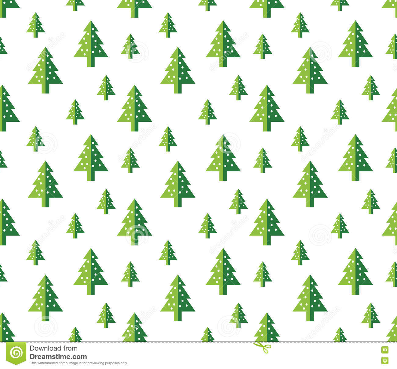 Christmas Trees Seamless Pattern For New Year Greeting Card Wallpaper Background Isolated Decoration