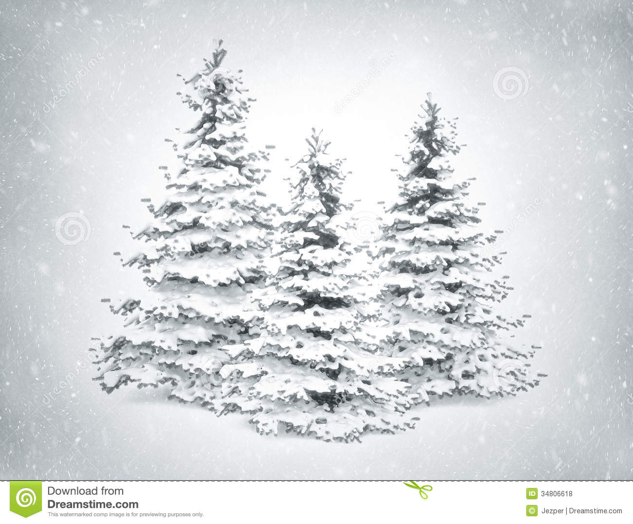 Christmas trees and snow stock illustration. Illustration of merry ...