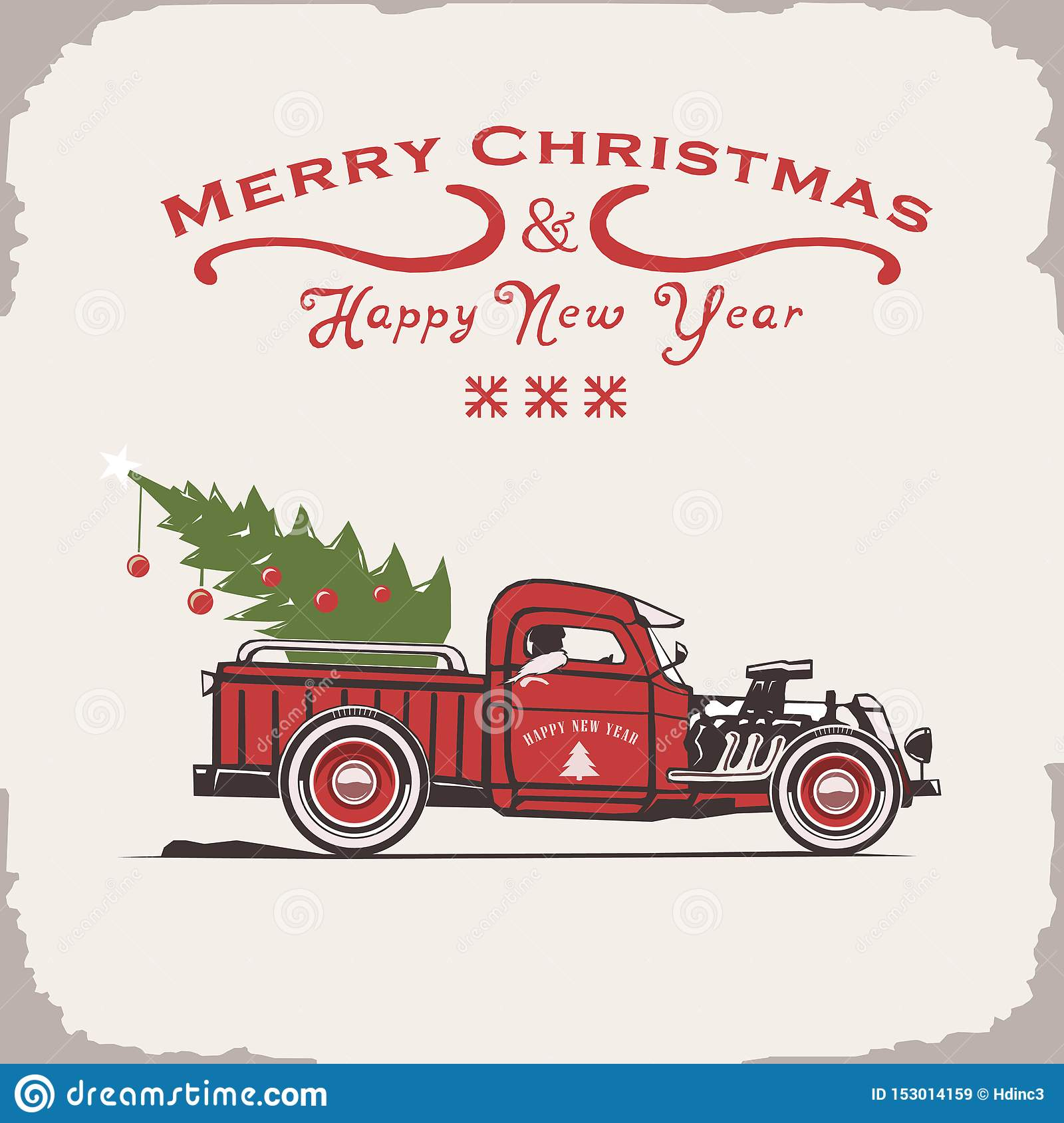 Christmas truck, side view, vector image, old card style