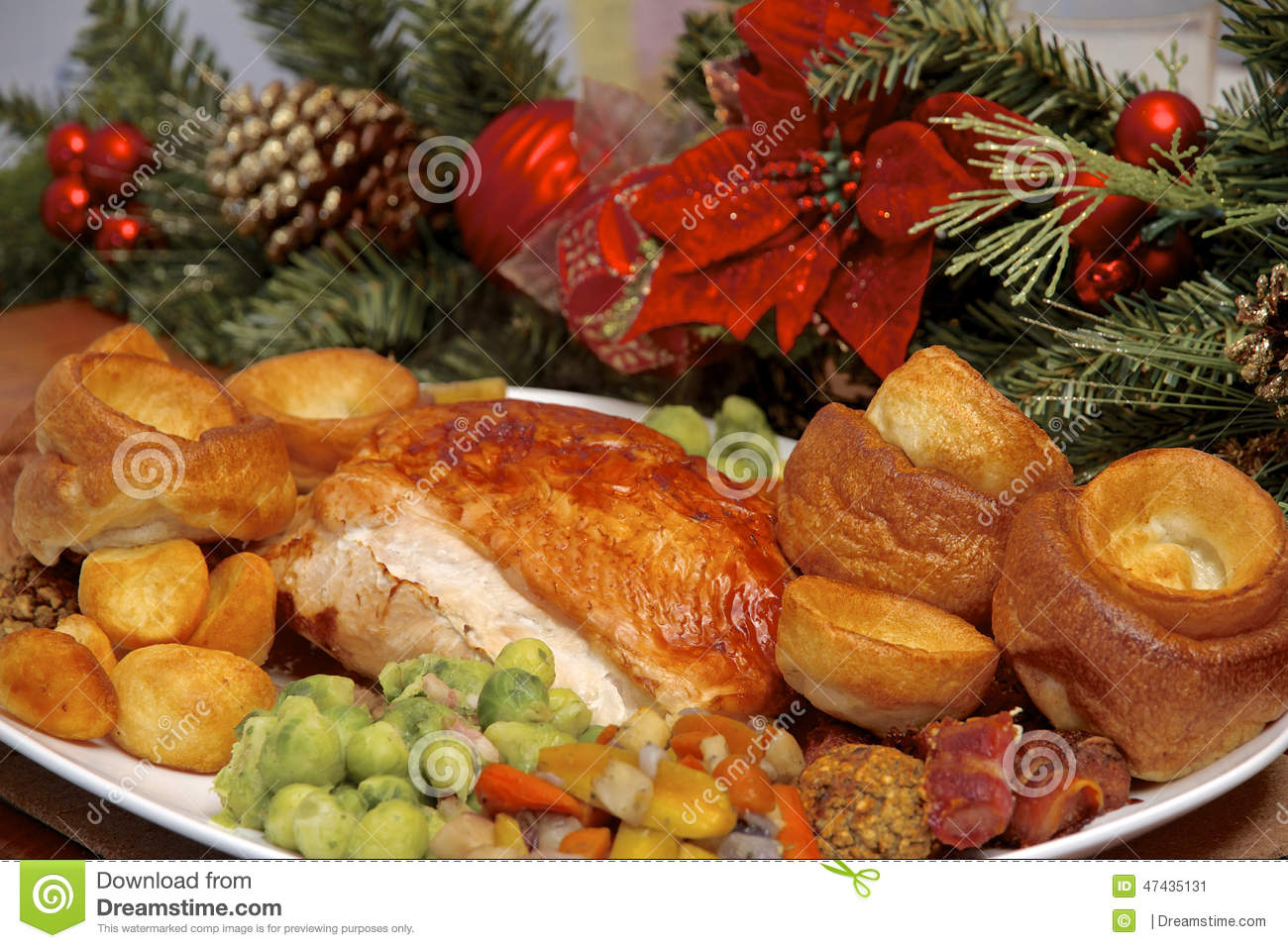 Christmas Turkey Dinner Stock Photo - Image: 47435131