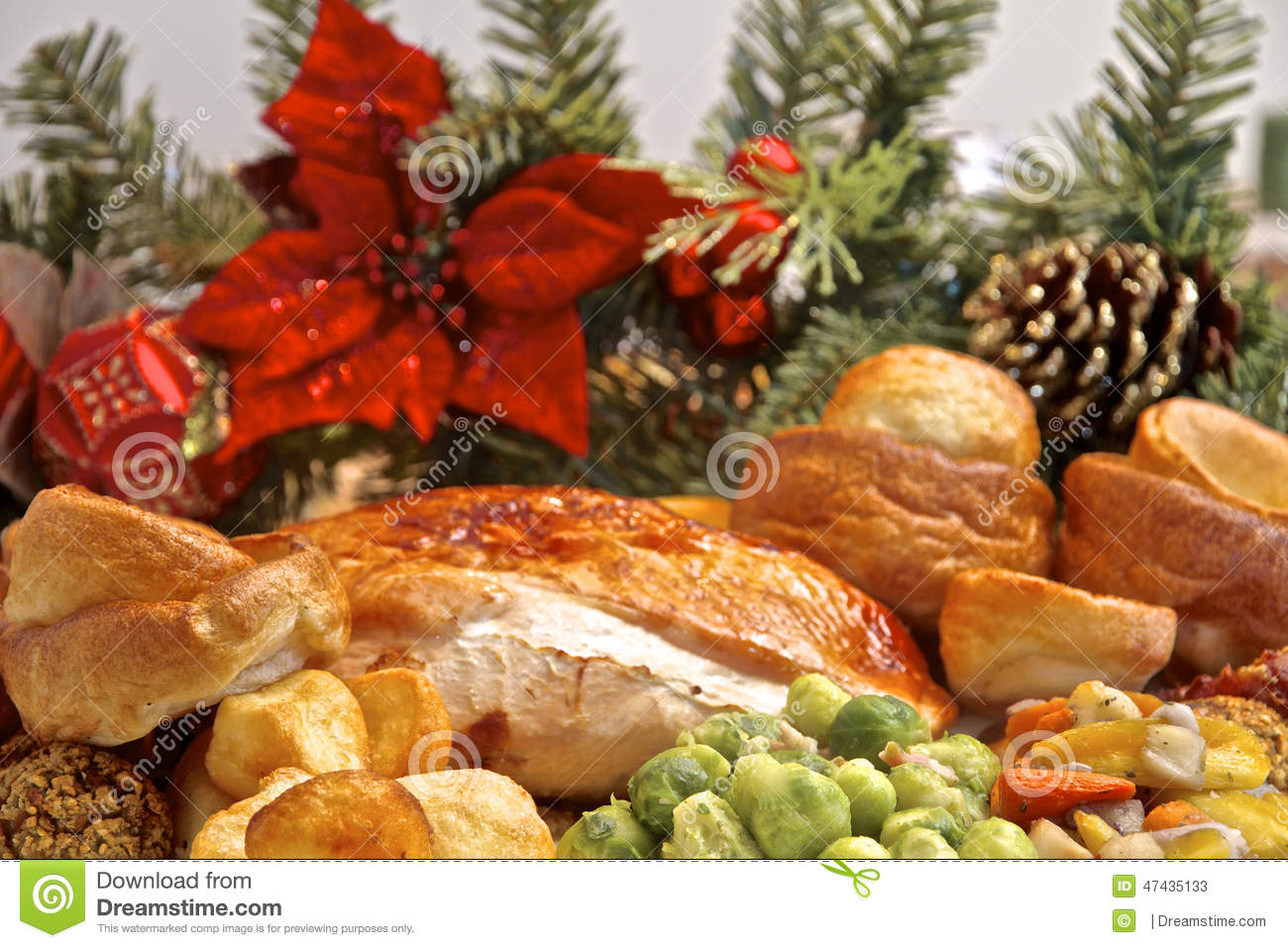 Christmas Turkey Dinner Stock Photo - Image: 47435133
