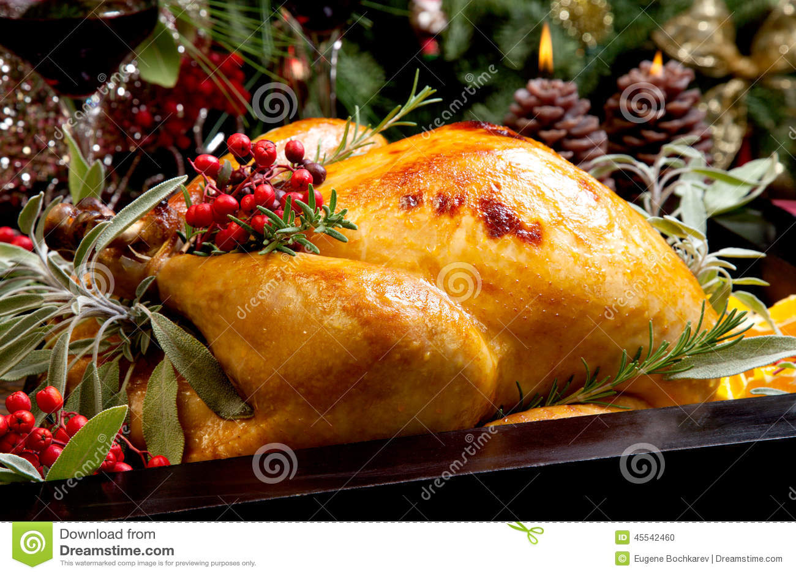 Christmas Turkey Prepared For Dinner Stock Photo - Image: 45542460