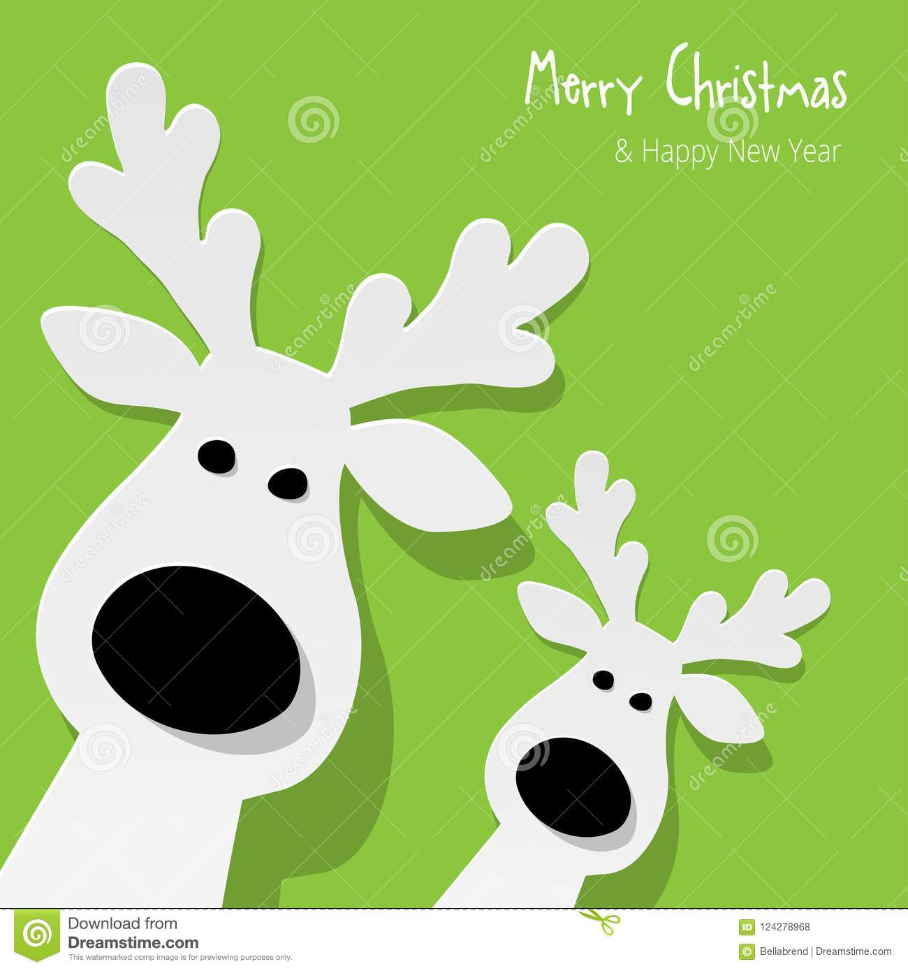 Christmas two Reindeers white on a green background.