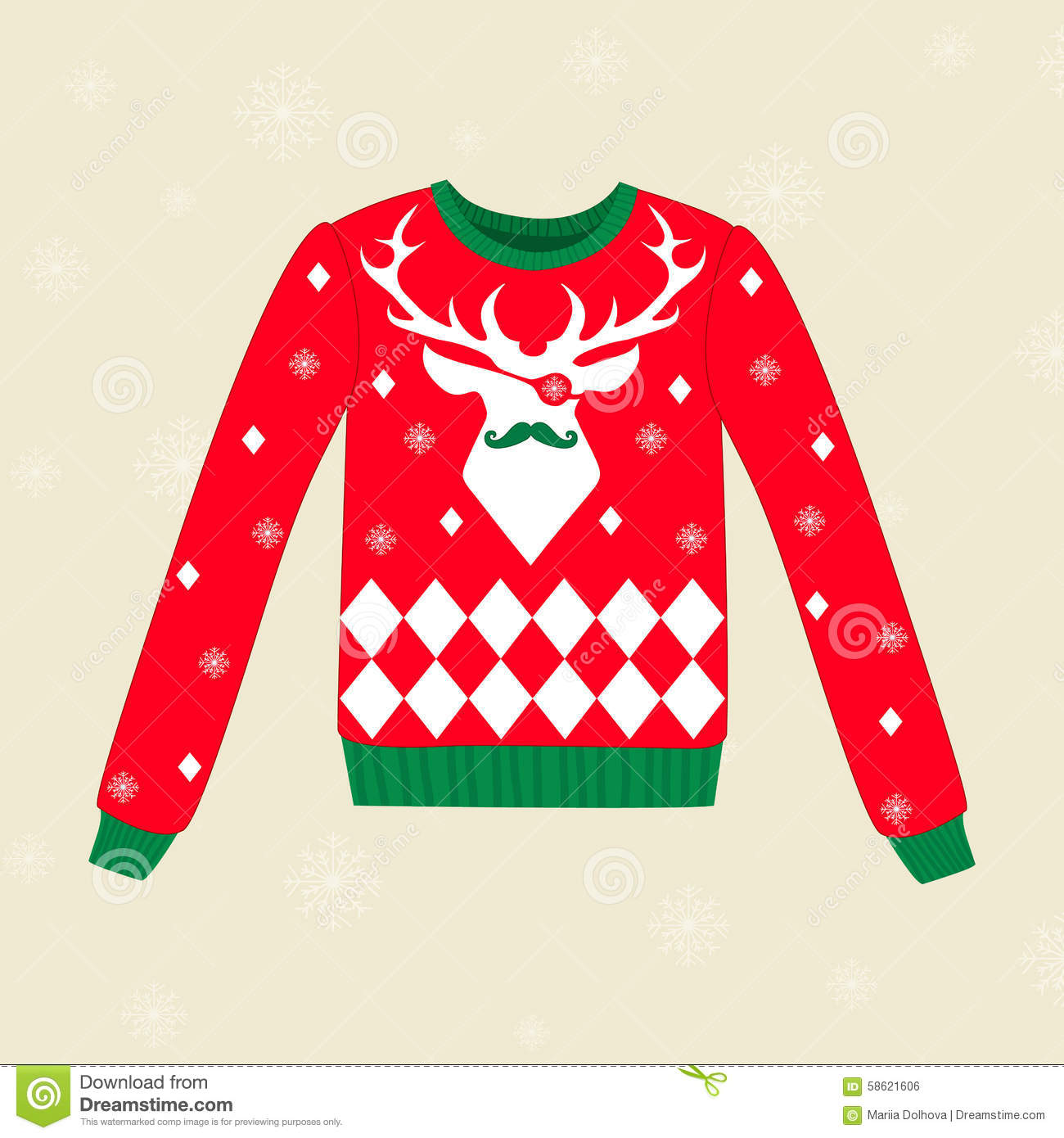 759dcd5ed Christmas red ugly vector sweater with deer. Designers Also Selected These  Stock Illustrations