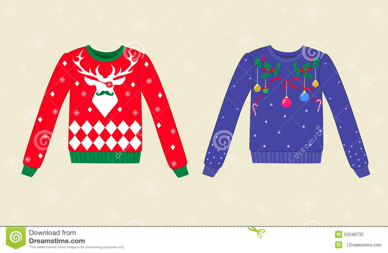 Christmas ugly sweaters on background with showflakes