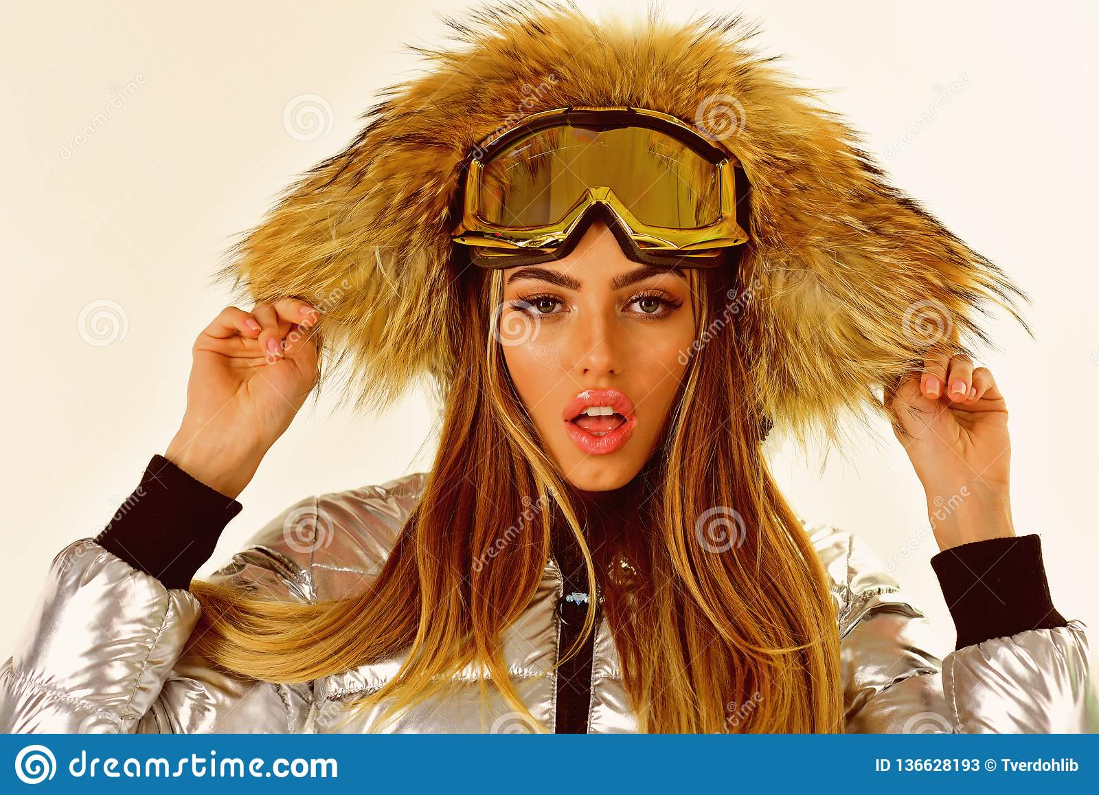 Model In Christmas Vacation.Christmas Vacation Beaming Woman Ski Resort And