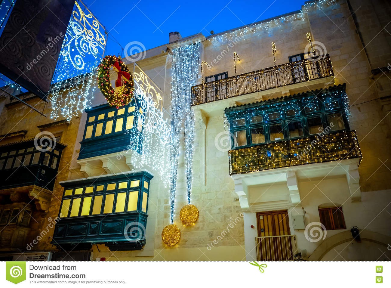 christmas in valletta malta holiday decoration on the. Black Bedroom Furniture Sets. Home Design Ideas
