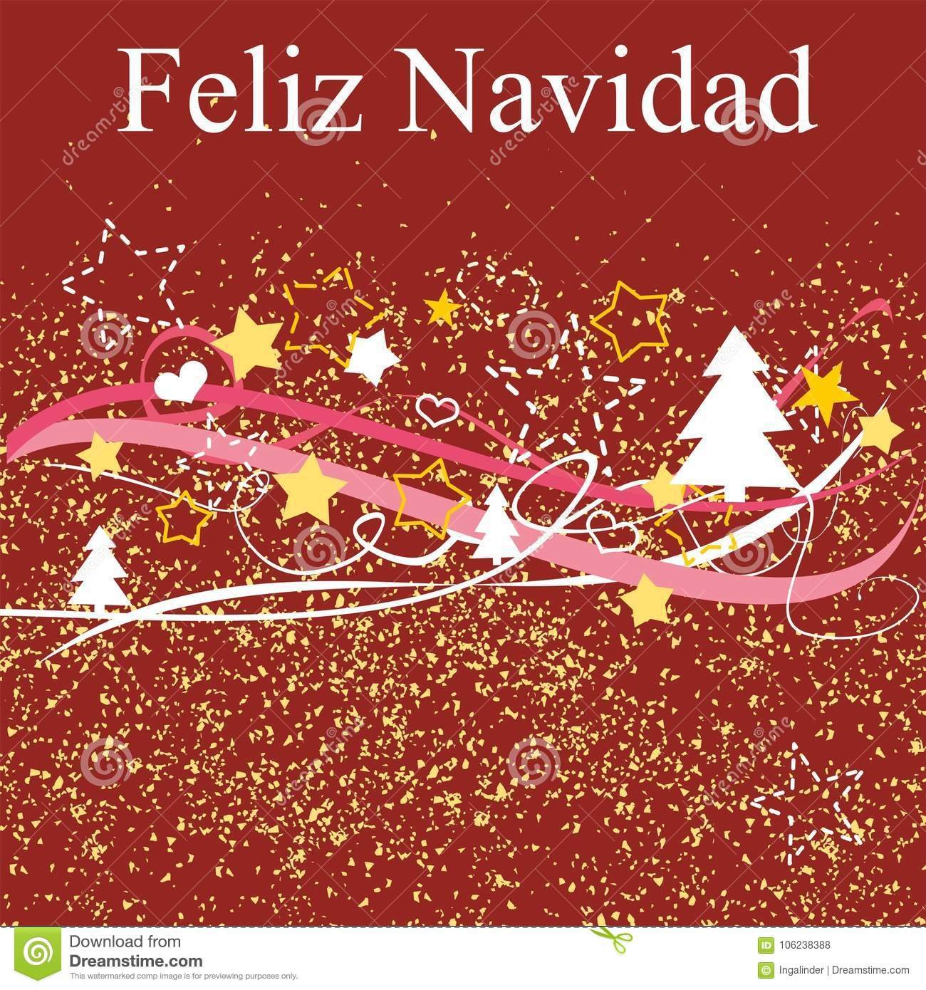 Christmas Wishes In Spanish.Christmas Vector Card Or Invitation With Merry Christmas