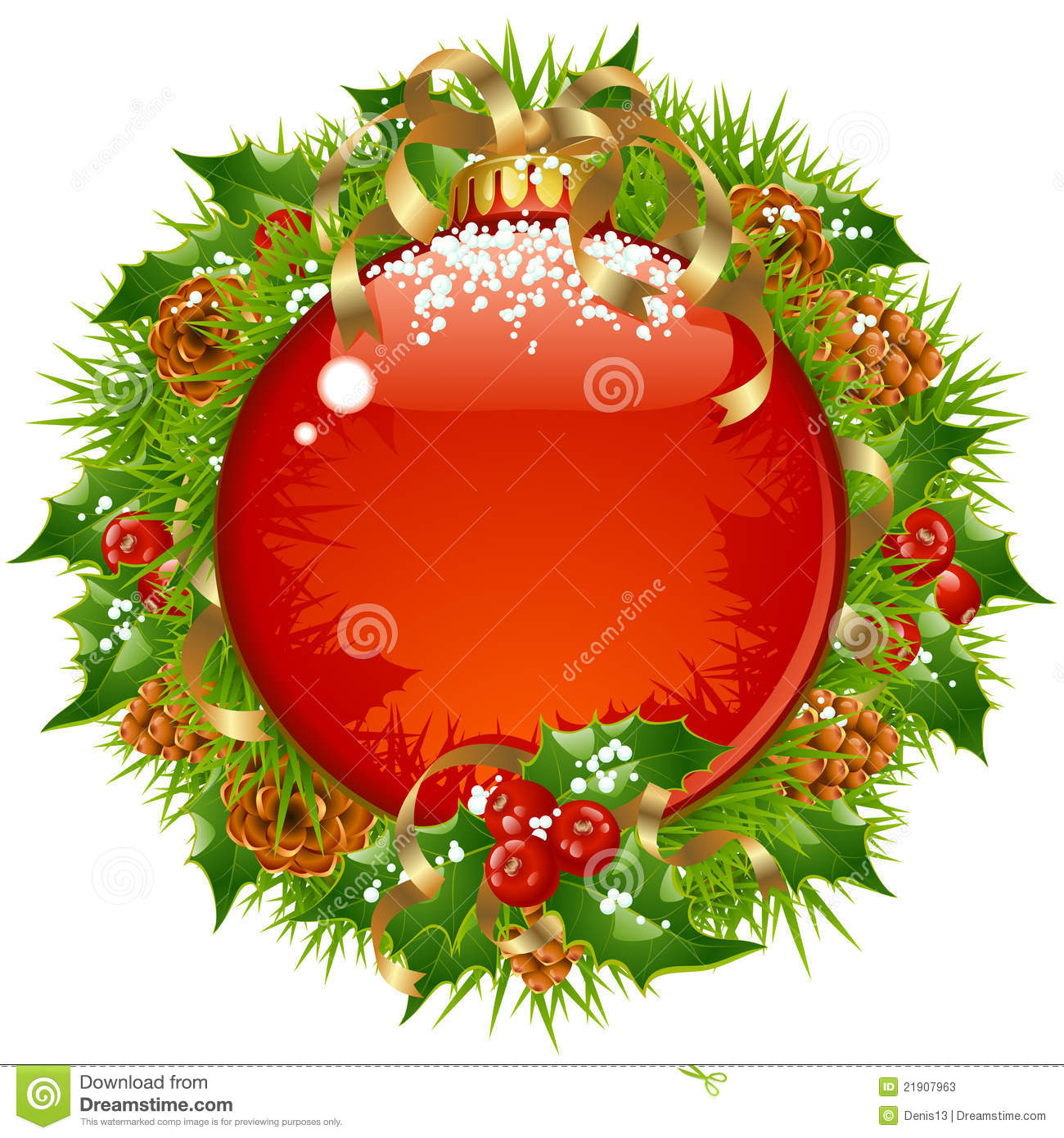 Vector Xmas circle frame with big red ball, branch of christmas tree ...