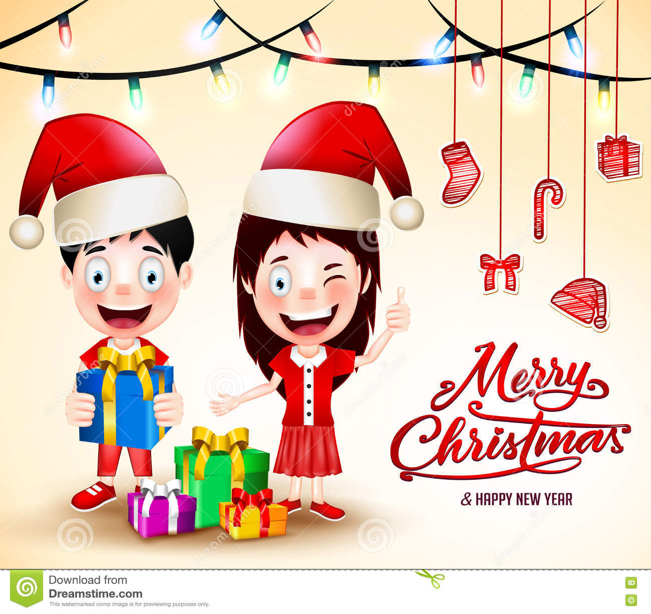 f497a09545f53 Christmas Vector Illustration with Gifts and Happy Kids Wearing Santa Hat