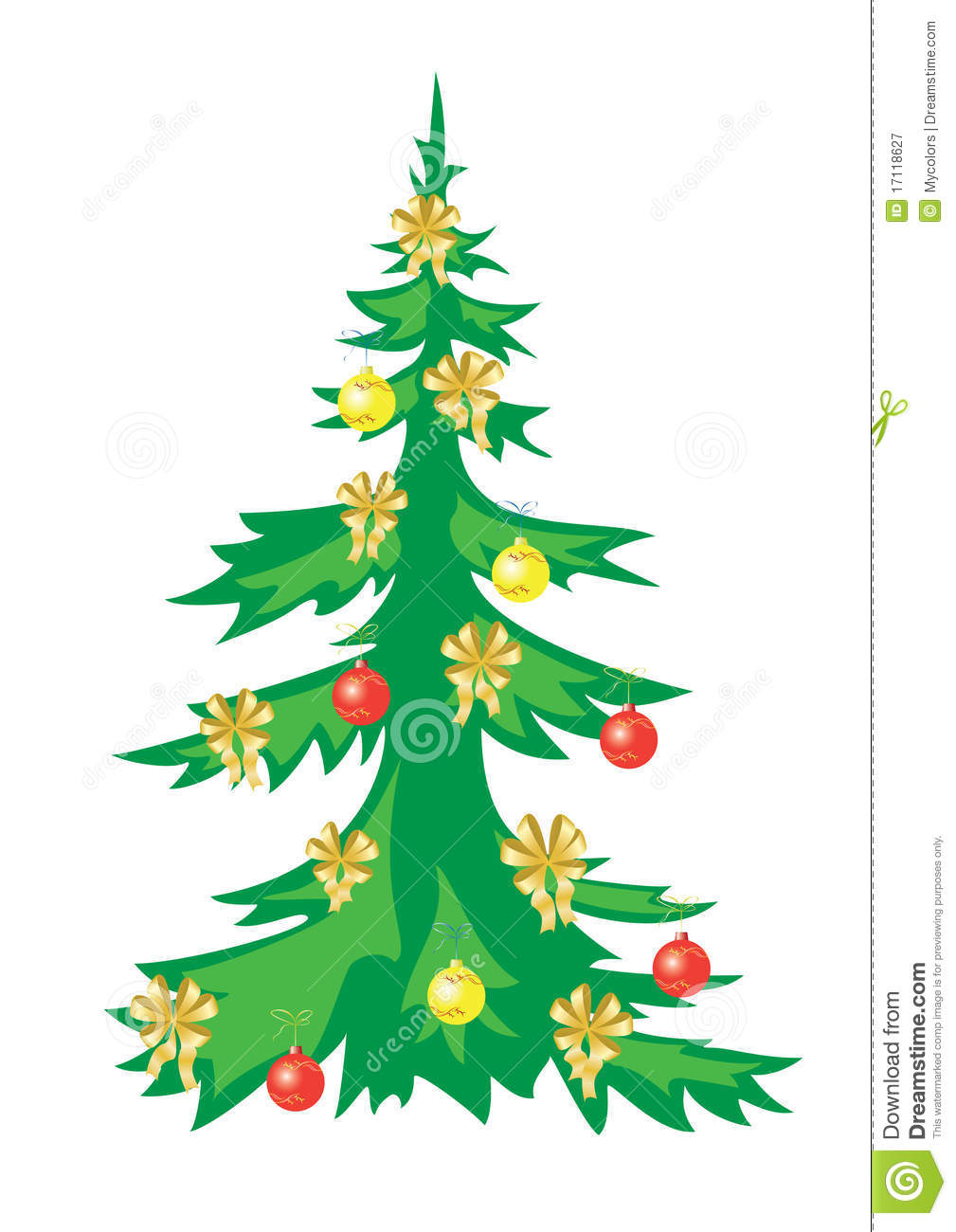 Christmas Vector Tree With Decorations Stock Vector ...