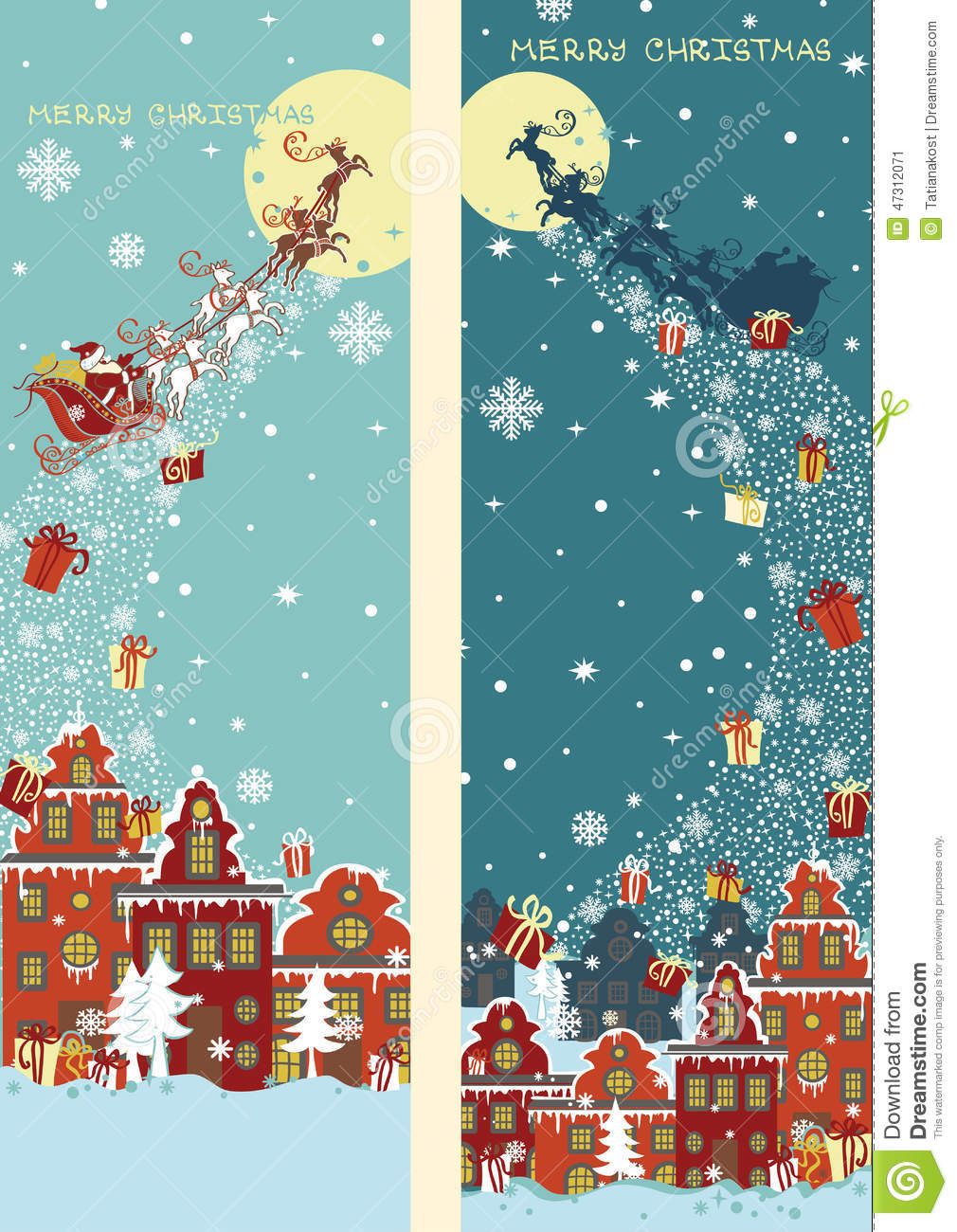 Santa Claus Sleigh With Reindeer Fly Over The City And Throws Gifts On Background Of Moon New YearChristmas Greeting Cardinvitation