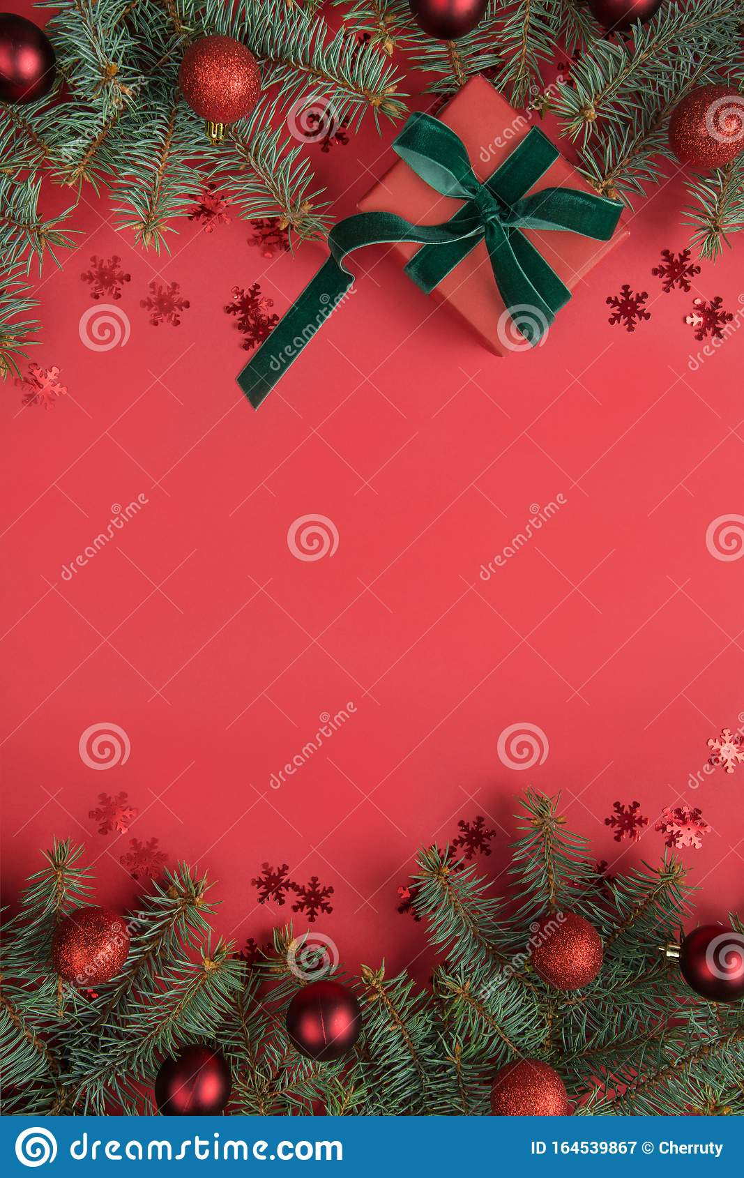 christmas border with fir tree and gift on red background