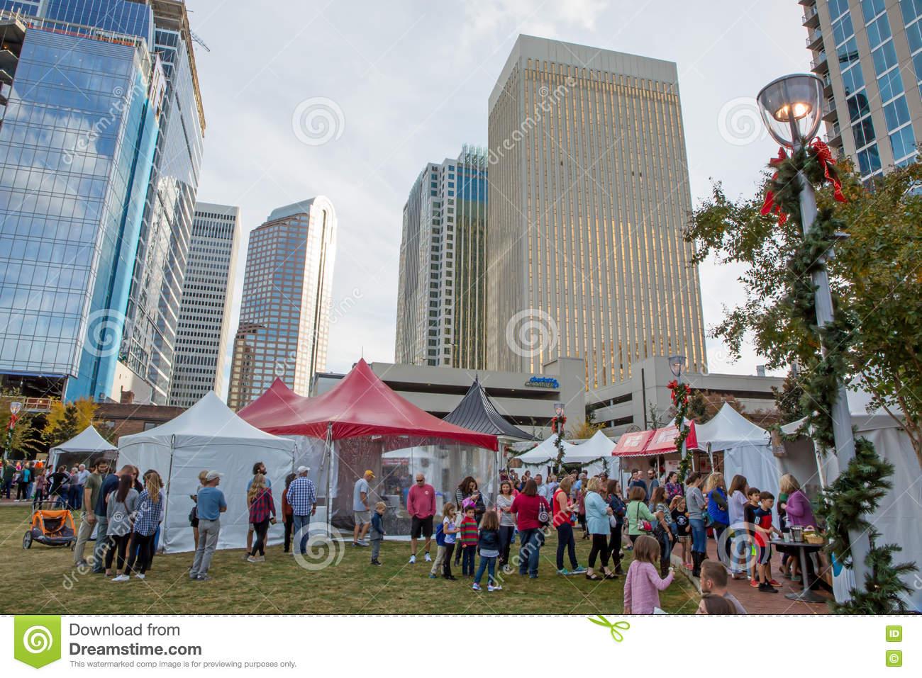 Christmas Village At Charlotte`s Romare Bearden Park Editorial ...