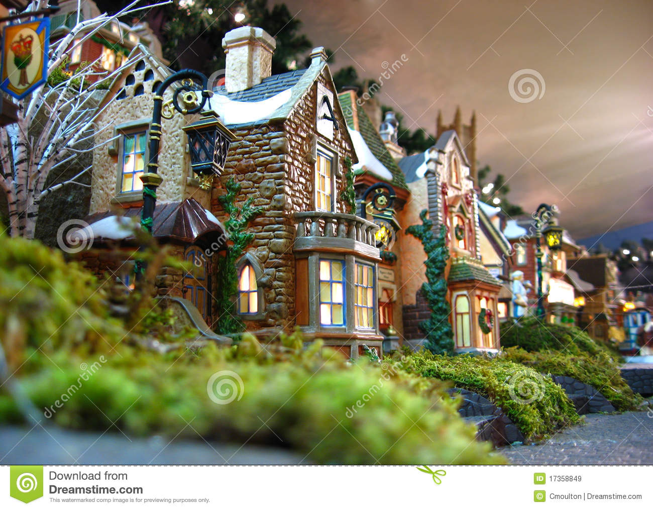 Christmas Village Decoration Stock Image Image Of Figurine
