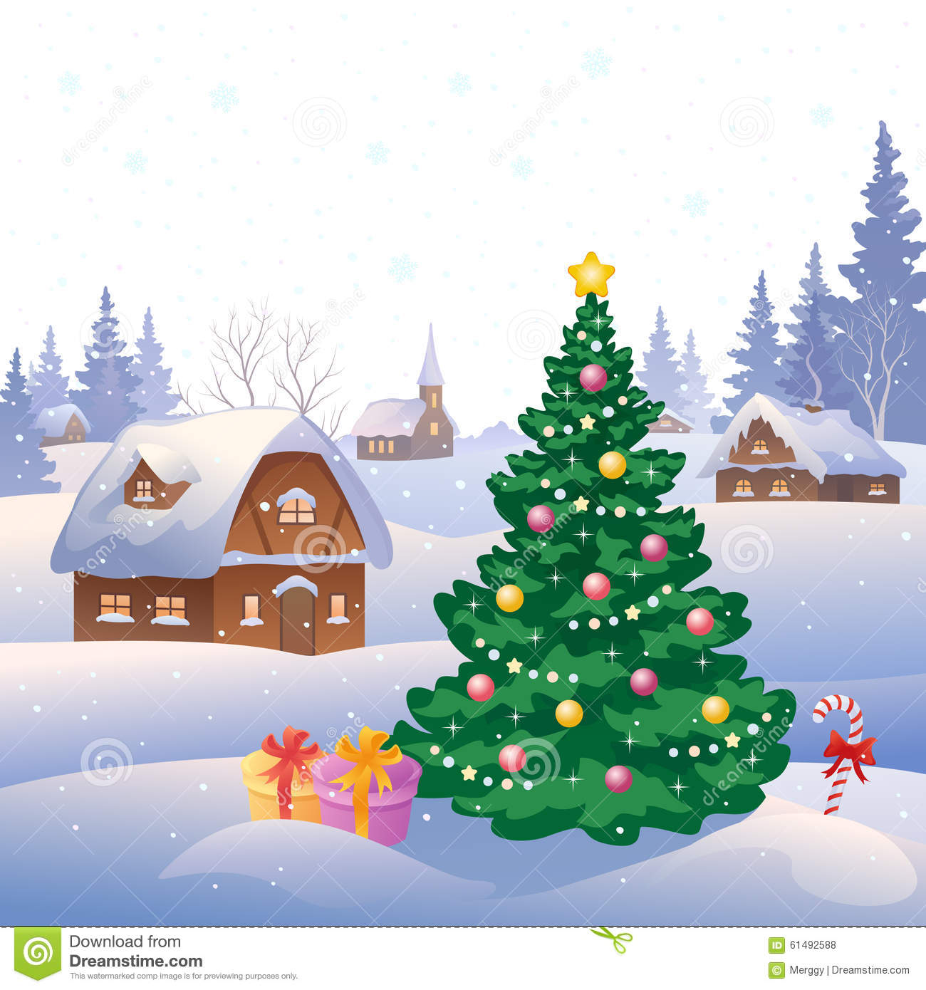 Illustration of a snowy village and Christmas tree.