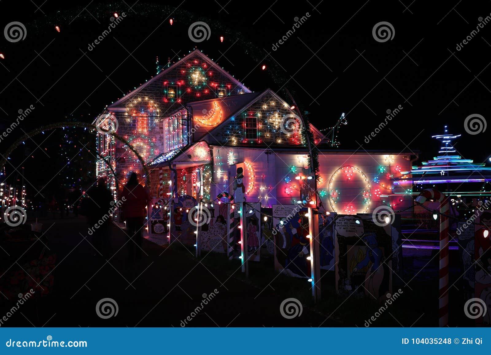 Christmas Village Pa.Christmas Village Light Show Editorial Stock Photo Image