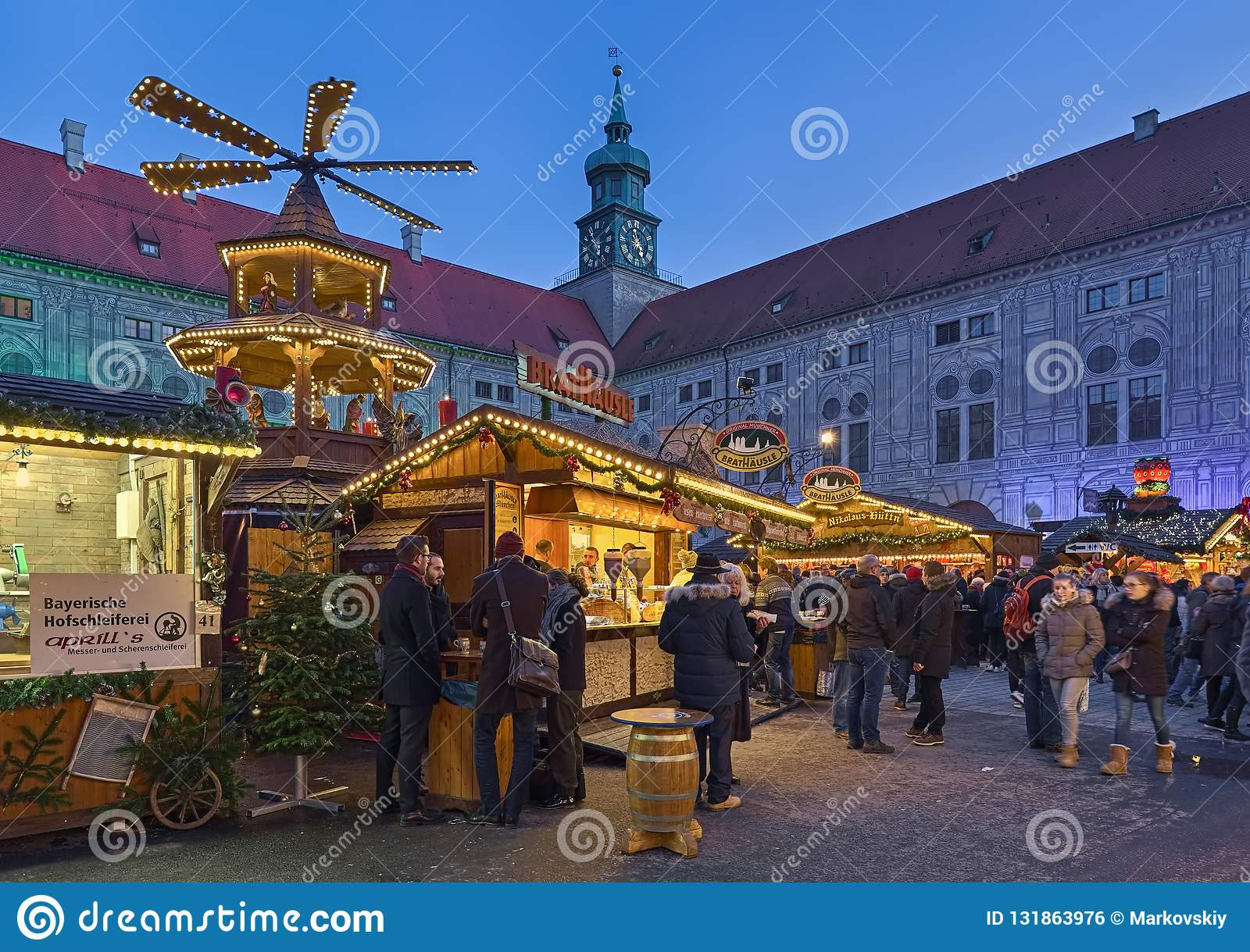 Christmas Village In Germany.Christmas Village At The Munich Residenz In Twilight