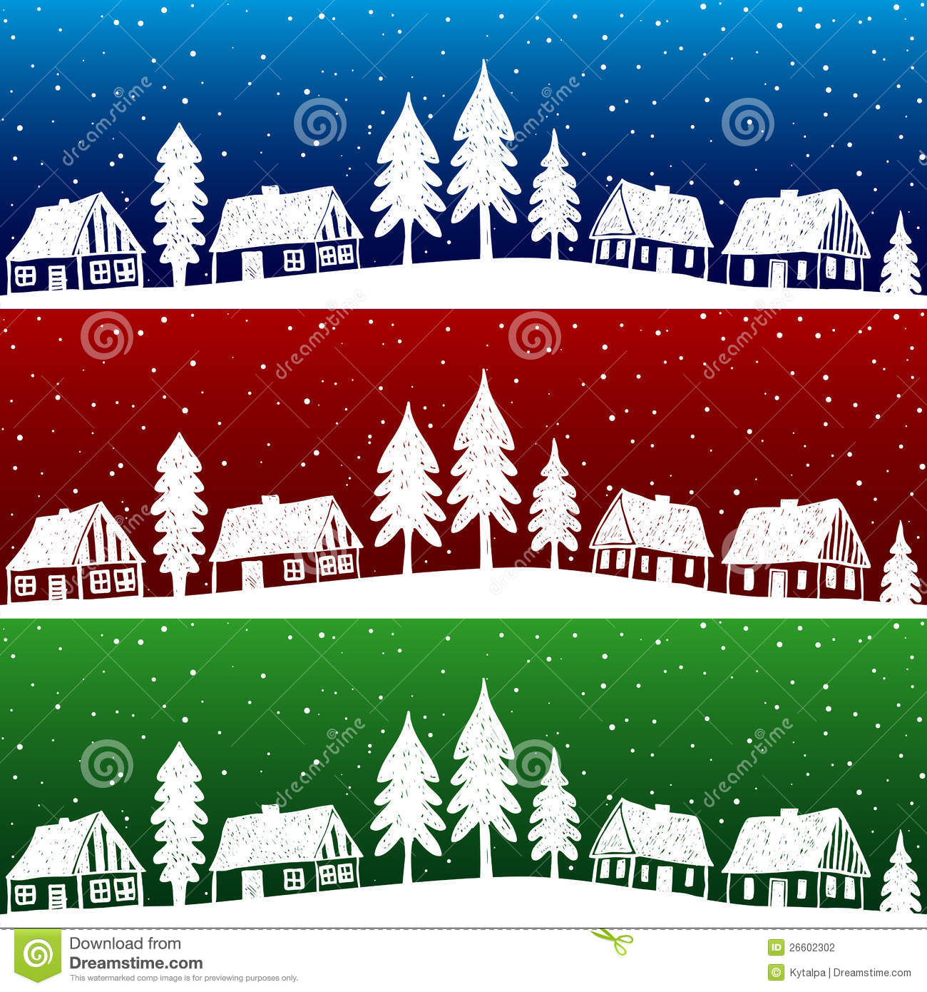 Christmas Village With Snow Seamless Pattern Stock Vector