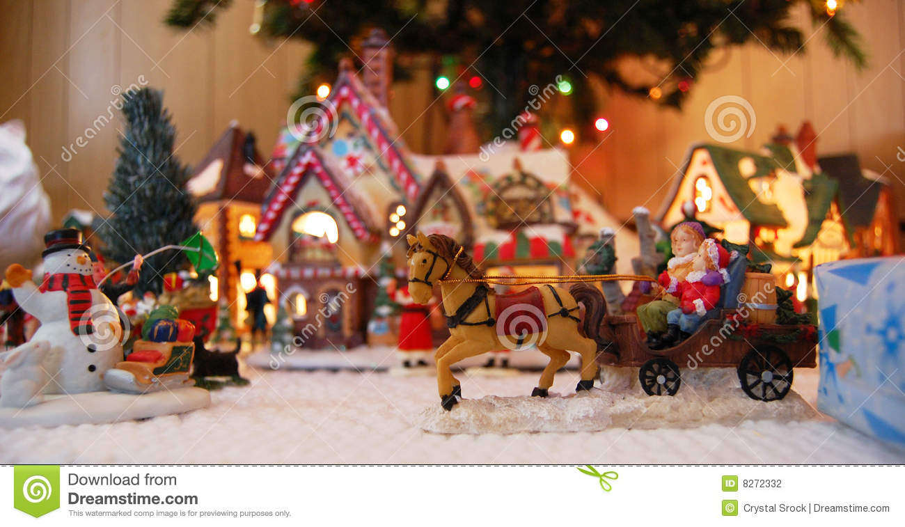 Toys At Christmas : Christmas village toys stock photo image of town