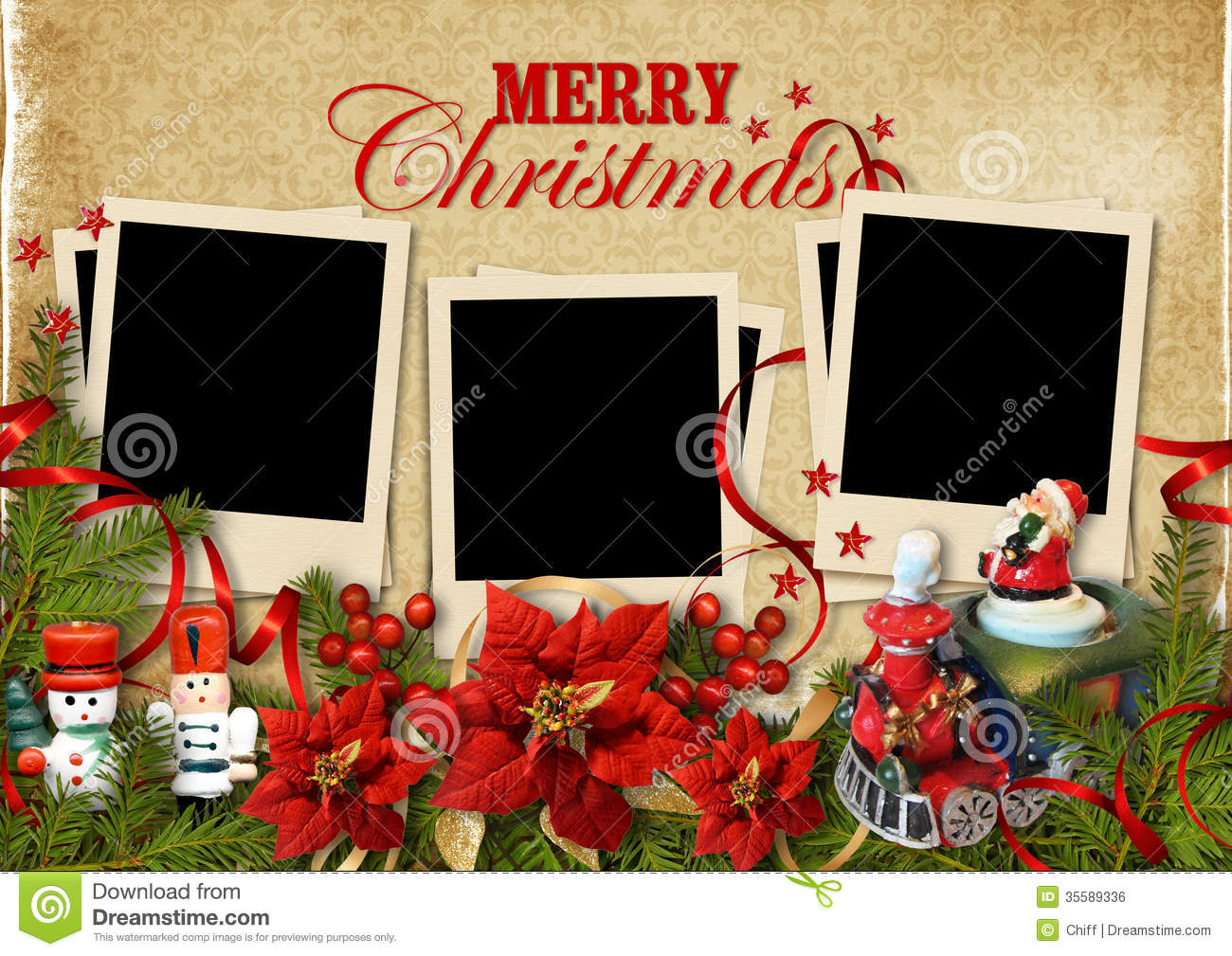 Christmas Vintage Background With Frames For Family Stock