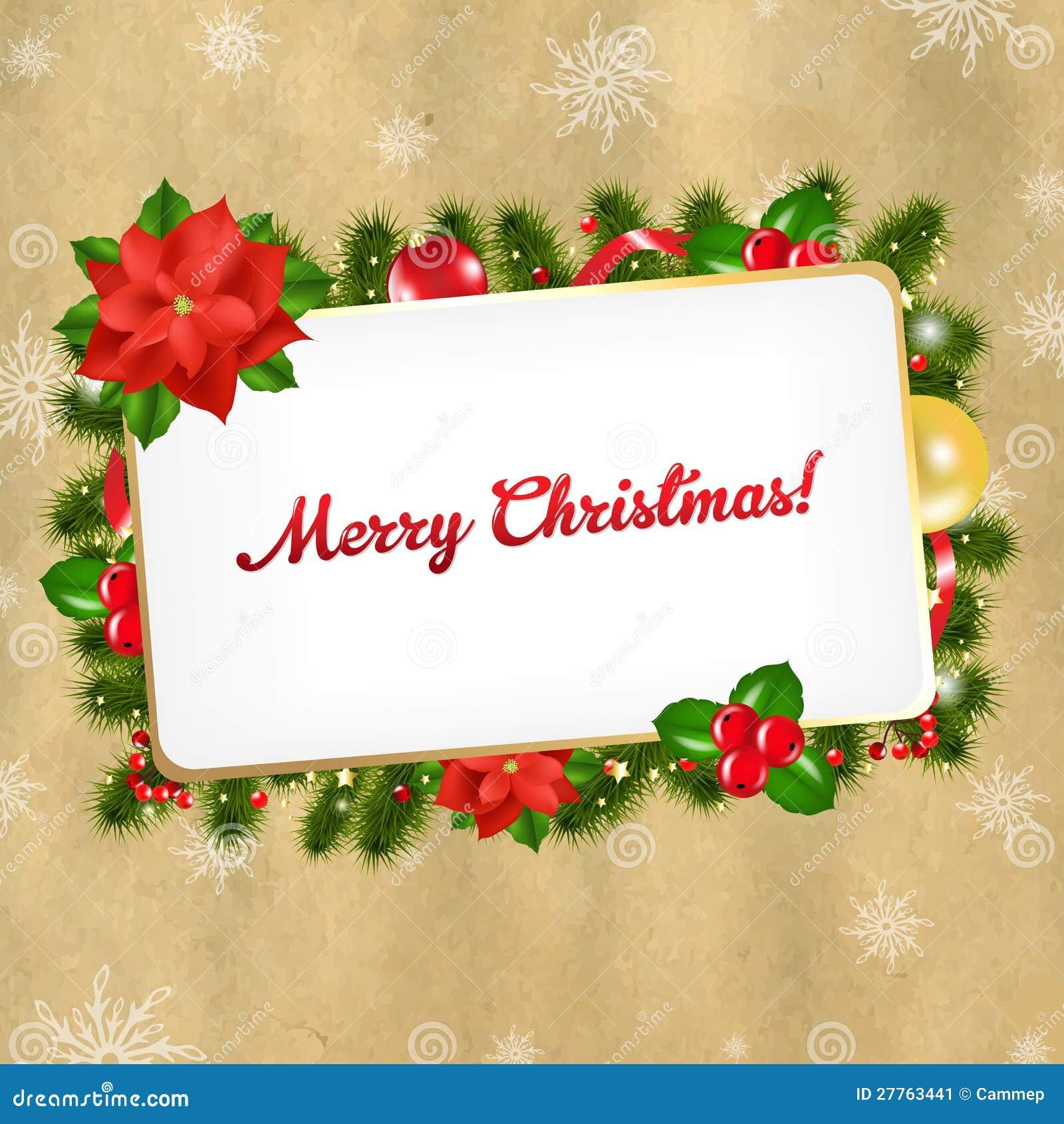 Christmas Vintage Blank Gift Tag Stock Image - Image: 27763441